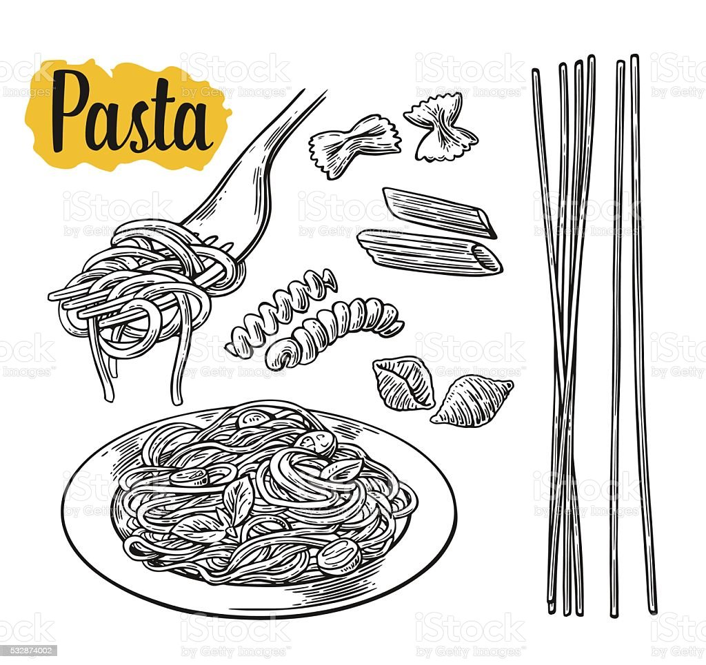 Set pasta - farfalle, conchiglie, penne, fusilli, spaghetti vector art illustration