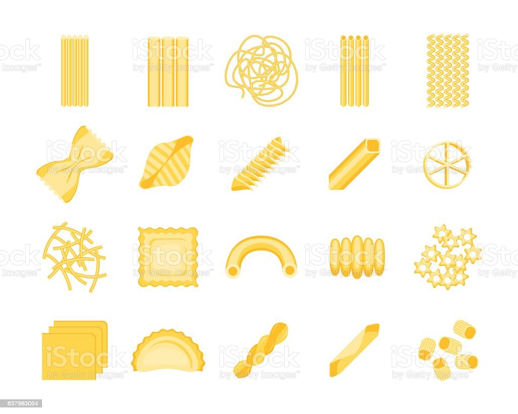 Pasta Set. Vector vector art illustration