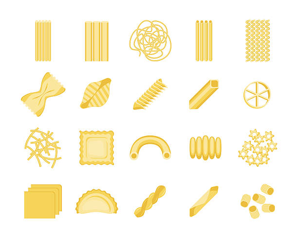 Pasta Set. Vector Pasta Set Color Different Shapes Assortment Ready for Your Business. Vector illustration ravioli stock illustrations