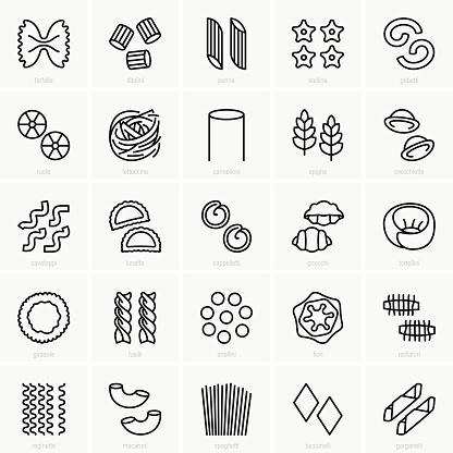 Pasta Shape Set Stock Illustration - Download Image Now