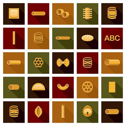 Pasta Shapes Icon Set