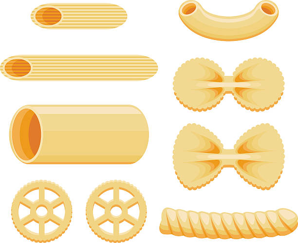 Pasta Shapes Icon Set A set of different pasta shapes: macaroni, fussily, rigatoni, penne, wagon wheels and bowtie. No gradients were used when creating this illustration. cannelloni stock illustrations