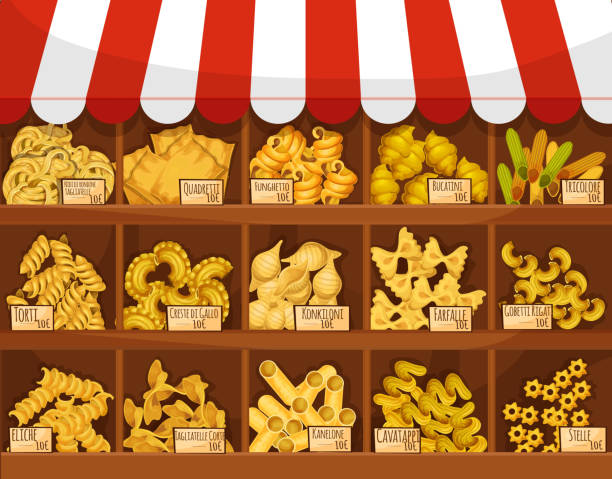 Pasta shop or market vector display stand stall Pasta market stand price of tagliatelli, quadretti funghetto, bucatini tricolore, torti and creste di gallo, konkiloni, farfalle, gobetti rigati or eliche, tagliatelle corti, kanelone cavatappi or stelle. Shop store vector product booth stall display canelones stock illustrations