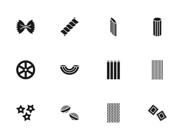 Pasta silhouettes icons set Pasta silhouettes icons set conchiglie stock illustrations