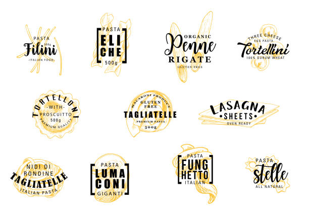 Pasta silhouettes on icons lettering pastry signs Pasta silhouettes symbols with lettering icons or signs. Filini and eliche, penne and tortellini, tortelloni and tagliatelle, lasagna and lumaconi, funghetto and stelle. Italian cuisine food vector vermicelli stock illustrations