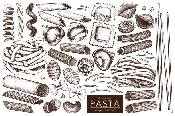 pasta sketch collection Vector collection of traditional Italian pasta with names. Hand drawn food sketch set. Vintage illustration for cafe or restaurant design. tortellini stock illustrations