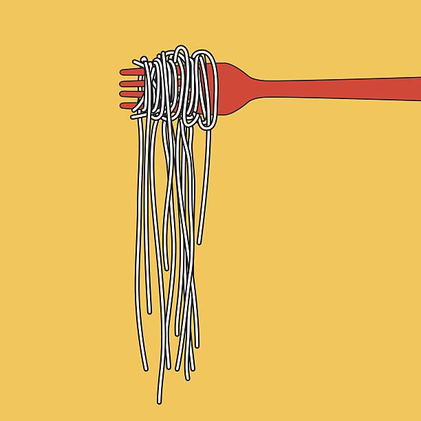 pasta spaghetti into folk, menu poster, vector illustration - spaghetti stock-grafiken, -clipart, -cartoons und -symbole