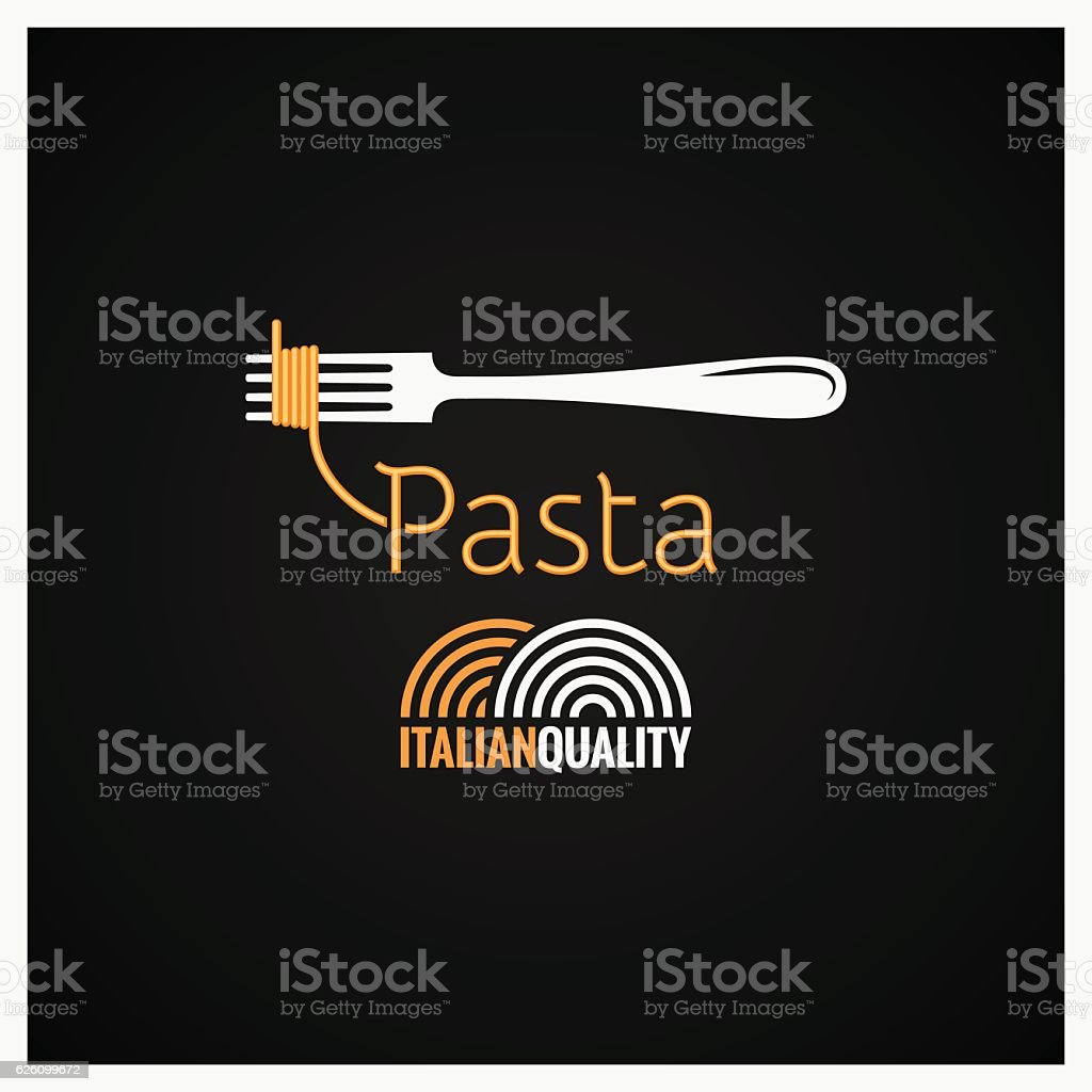 Pasta Spaghetti On Fork Background vector art illustration