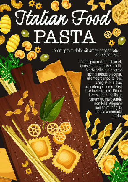 Pasta, spaghetti, penne and macaroni vector Pasta making of traditional italian food. Vector spaghetti, macaroni and fettuccine, penne, farfalle and ravioli, lasagna, rotelli and gnocchi pasta with flour, basil and olive on wooden cutting board tortellini stock illustrations