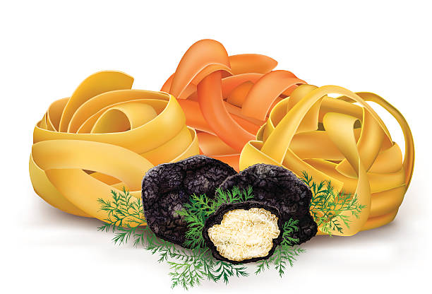 bildbanksillustrationer, clip art samt tecknat material och ikoner med pasta tagliatelle and black truffle - tagliatelle mushroom