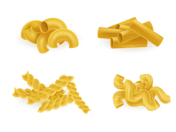 Pasta types and forms realistic vector set Various types and shapes pasta and macaroni realistic vector illustration set isolated on white. Italian national cuisine traditional ingredient. Natural healthy eating food tortellini stock illustrations