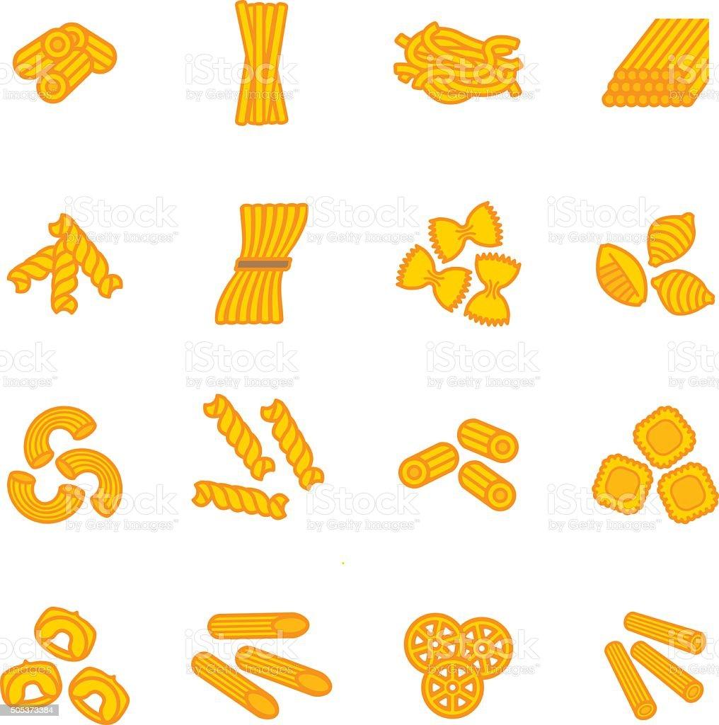 Pasta types icon set. Vector eps 10. vector art illustration