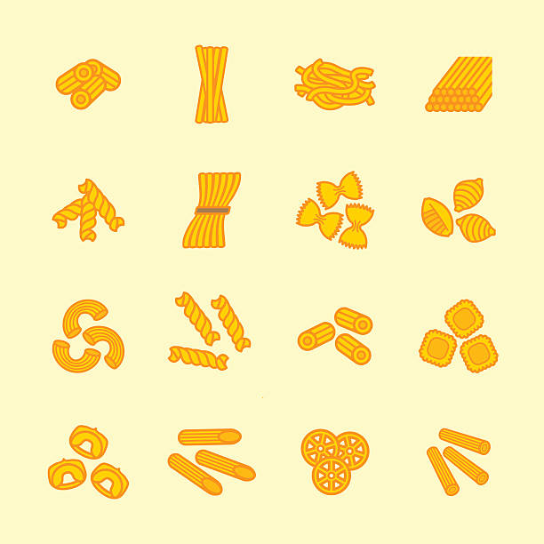 Pasta types icon set. Vector eps 10. Pasta types icon set. Vector eps 10. rotelle stock illustrations