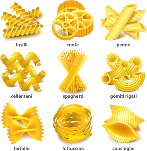 Pasta types icons vector set Pasta types icons detailed photo realistic vector set rotelle stock illustrations