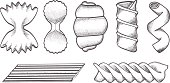 Illustration of Pasta types sketches in black and white isolated on white backgound.