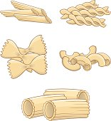 Pasta page with macaroni, rigatoni,fusilli,penne rigate and farfalla. Pasta all in individual layer. Also available in Illustrator CS2
