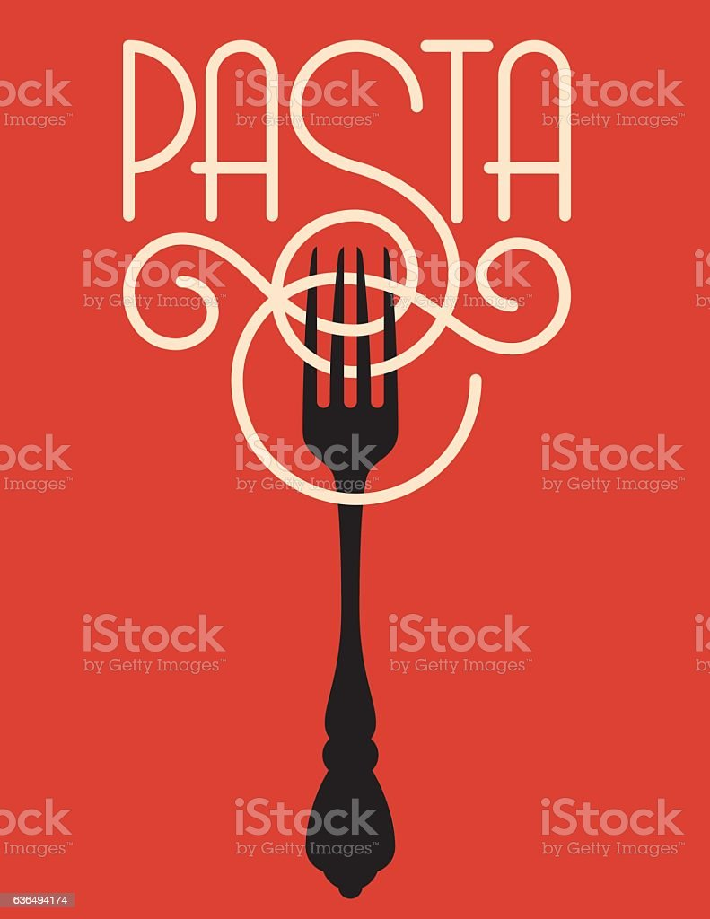 Pasta vector design Vector logo or badge featuring the word pasta spelled out of spaghetti or linguine with the ornate S wrapping around a fork. Computer Graphic stock vector