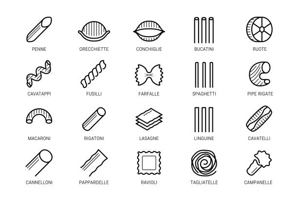 Pasta vector icon set in thin line style vector art illustration