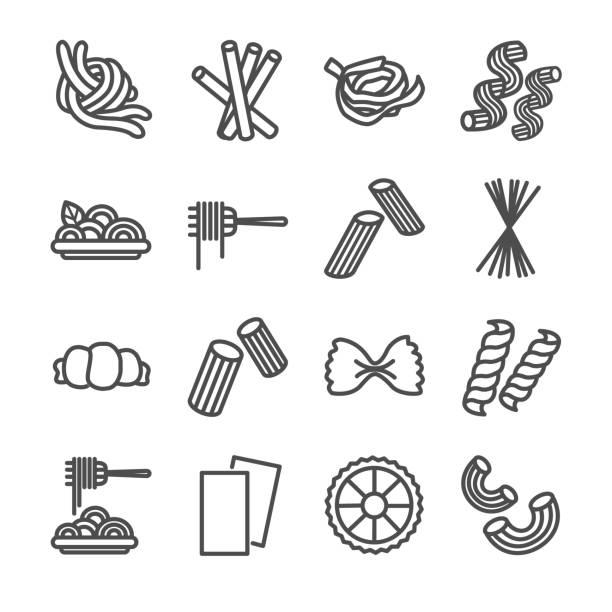 Pasta Pasta vector icons set macaroni stock illustrations