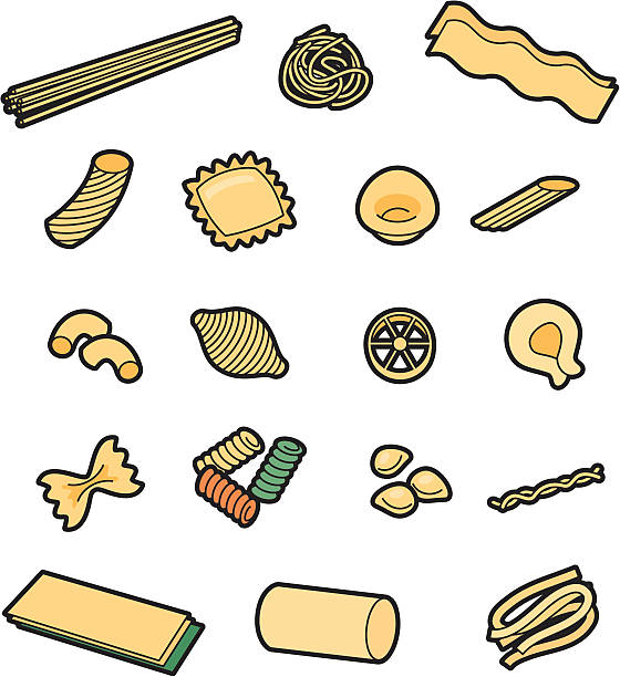 Pasta A selection of different types of pasta. Click below for more food and drink images ravioli stock illustrations