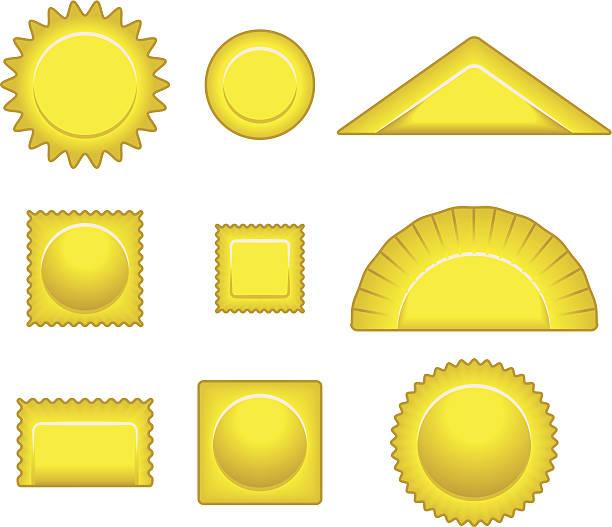 Pasta Various filled pasta shapes. ravioli stock illustrations