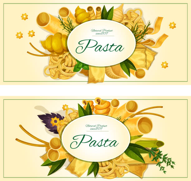 Pasta with basil banner for italian cuisine design Pasta and italian cuisine traditions banner set. Spaghetti, macaroni, noodle, lasagna, cannelloni pasta with fresh green and red basil, dill and thyme spice herb for food packaging label design canelones stock illustrations