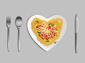 Pasta with sauce and cheese top view, spaghetti in heart shaped plate with knife, fork and spoon isolated on grey background, italian cuisine dish , noodles, macaroni Realistic 3d vector illustration