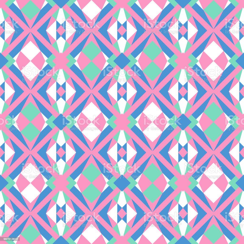 パステルの抽象的な幾何学模様のシームレスなベクトル白ピンクブルー