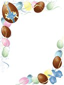 Pastel and chocolate Easter Egg banner with ribbons and glitter. Eggs, ribbons, and glitter are in separate layers. pdf and jpg files are included.