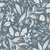 Pastel and Indigo Floral Texture