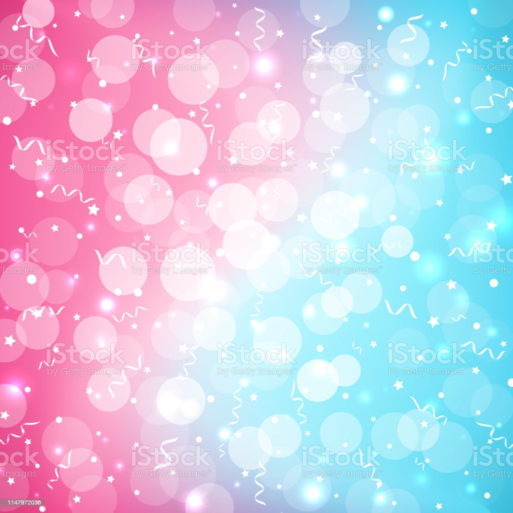 Pastel Baby Bokeh Festive Colorful Background In Beautiful Cute Style Abstract Blurred Blue Pink Background With Sparkles And Serpentine Copy Space Place For Text Stock Illustration Download Image Now Istock
