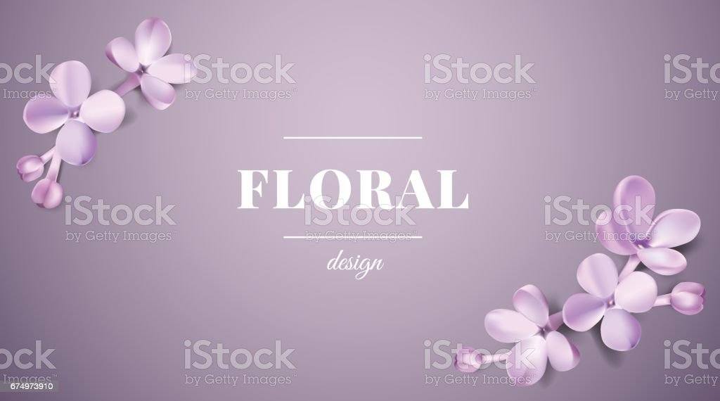 Pastel background with lilac flowers. vector art illustration