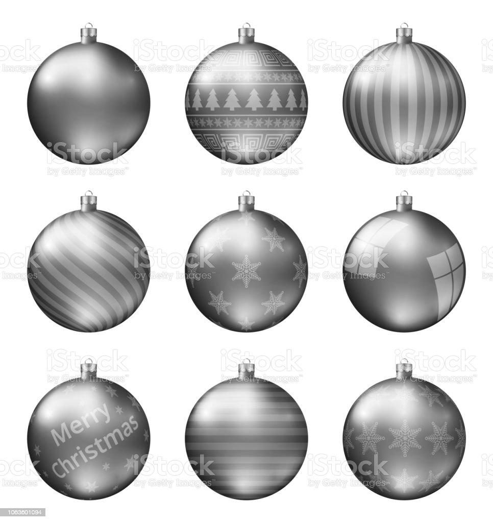 Christbaumkugeln Polen.Pastell Schwarz Weihnachten Kugeln Isolierten Auf Weißen Hintergrund