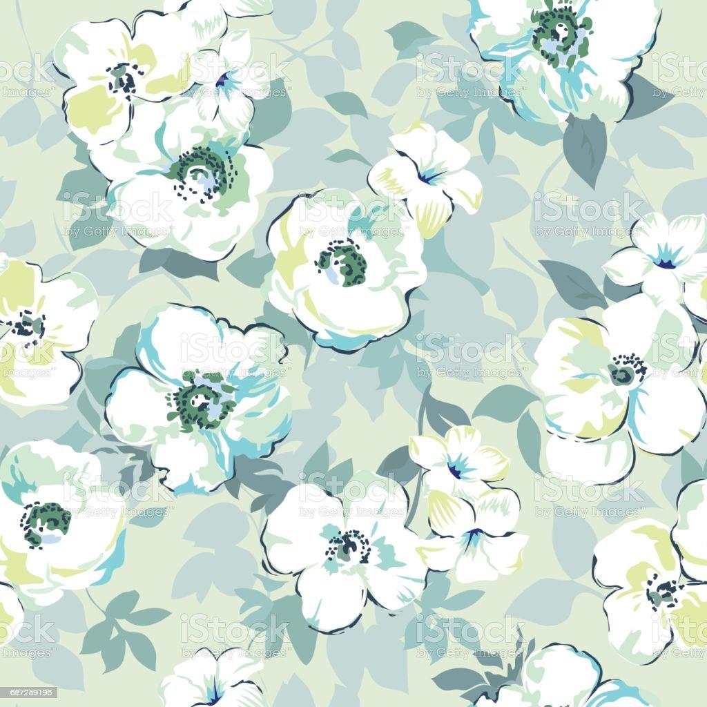 Pastel Blue Flower Print Seamless Background Stock Illustration