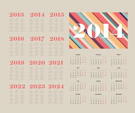 pastel calendar 2014