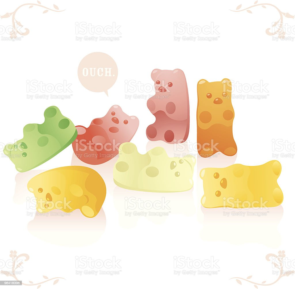 Pastel cartoon images of gummy bears with one saying ouch vector art illustration