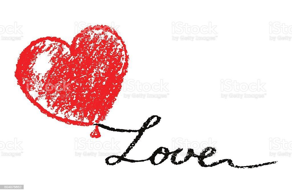 Ilustracion De Lapiz Para Pastel De Tiza Corazon Con Amor
