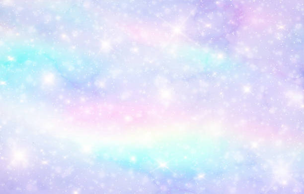 pastel clouds and sky with bokeh . cute bright candy background . - rainbow glitter background stock illustrations