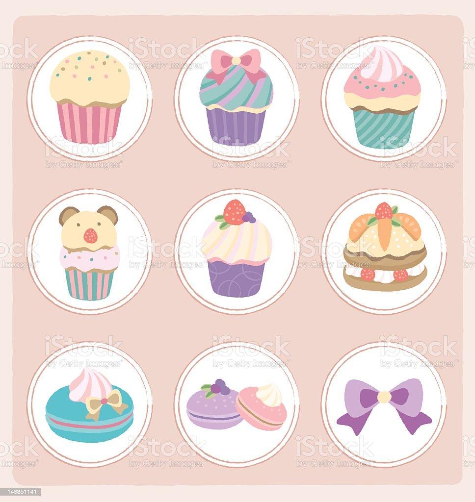 pastel color desserts - cupcake, macaroon, layer cake royalty-free stock vector art