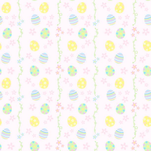 Pastel color easter pattern vector art illustration