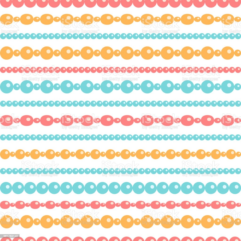 Pastel colored beads necklace on white, seamless pattern, vector vector art illustration