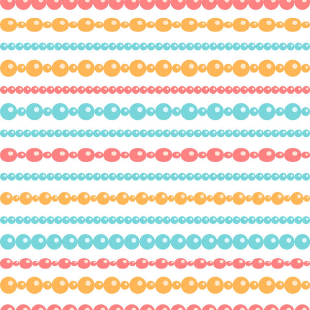 pastel colored beads necklace on white, seamless pattern, vector - bead stock illustrations, clip art, cartoons, & icons