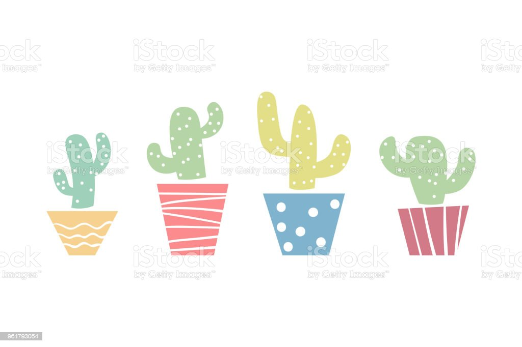 Pastel colored cute cactus in pots print royalty-free pastel colored cute cactus in pots print stock vector art & more images of art