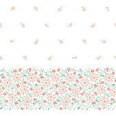 Pastel colored hand-painted daisies on white background horizontal vector seamless border. Delicate spring summer floral edge print. Perfect for textiles, stationery