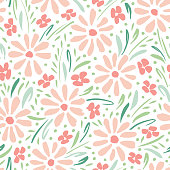 Pastel colored hand-painted daisies on white background vector seamless pattern. Delicate spring summer floral print. Perfect for textiles, stationery