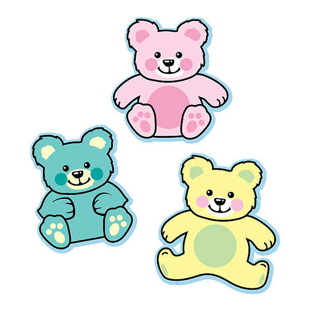 Pastel colored stuffed baby teddy bears blue pink yellow vector art illustration