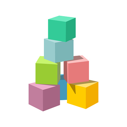Pastel colored vector blank block building tower