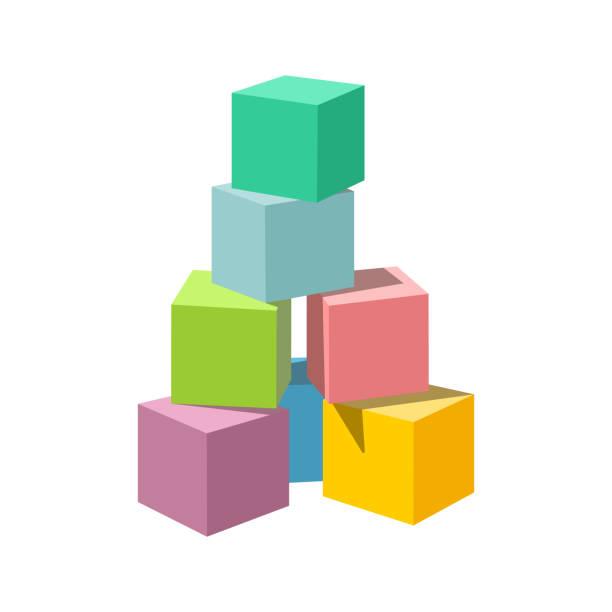 ilustrações de stock, clip art, desenhos animados e ícones de pastel colored vector blank block building tower - bloco