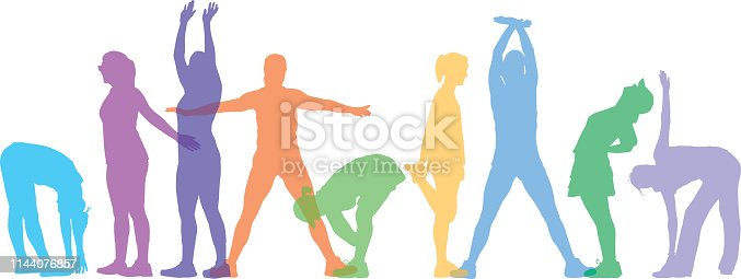 Vector illustration of a row of colorful pastel women stretching.