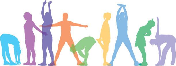 stockillustraties, clipart, cartoons en iconen met pastel kleurrijke vrouwen stretching - ontspanningsoefening